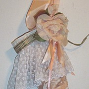 Antique Textiles..Artisan..Victorian Style Pale Peach Jacquard Silk Christmas Stocking With Pl