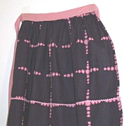 Vintage Cotton Apron With Black Ground And Pink Cookie Cutter Over Plaid...Very 1950's...Retro