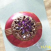 Vintage...Art Deco Style Wine Enameled Disc Al-La-Mode..With Antique Brass  Filigree Button &