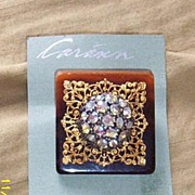 Vintage...Art Deco Style Collage Pin..Tortoise Square-& Gold Tone Filigree & Aurora Borealis .