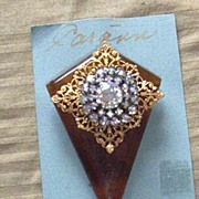 Vintage...Art Deco Style Collage Pins..Tortoise Colored Plastic.. Elongated Diamond & Gold Ton
