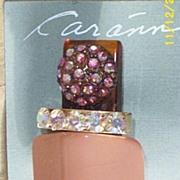 Vintage..Art Deco Style Collage Pin / Brooch..Dusty Peach Stone & Aurora Borealis Rhinestones.