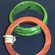 Two Vintage ...Marbleized Plastic Bangle Bracelets...Jade Green Swirl...Dusty Apricot...Hong K