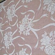 Authentic BATES Pink / White  Floral Jacquard Bedspread & Drape Set
