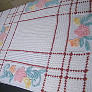 """Vintage CHENILLE Bedspread..Brown Over Plaid Check Grid..Floral..89""""X102"""""""