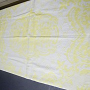 Vintage Jacquard Yellow & White  Doublewoven  Cotton  Bedspread Coverlet With Fringe..Excellen