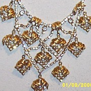 SALE VENUS FLAMES... D & E  Rhinestone & Gold Multi-Tiered Waterfall.. Bib Necklace..Designer.