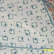 SOLD Vintage Cotton Blanket Cove Or Coverlet Of Tiny Blue Roses..Squares...And Dots