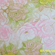 """Vintage Feed Sack Cotton Blanket Cover With Pastel Pink & Yellow Roses On A Green Ground...63"""""""