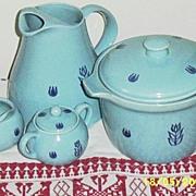 Vintage..Blue Tulip by Cronin Pottery..6. Piece Set