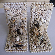 SOLD Vintage Shell Collage Bookends..Set