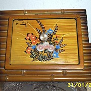 Japanese Bamboo And Hand Painted Flowers Lacquer Box Unusual