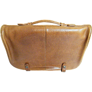 Quality Vintage Cowhide Briefcase..Light Brown..Handle..Large Zippered Compartments..Plus Larg