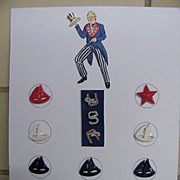 UNCLE SAM Collector Button Card With Rhinestone USA Buttons..Plus Hat..& Sailboats.. Anchor. .