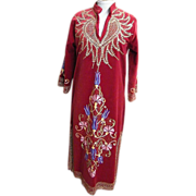 Long Red Velvet Caftan With Gold & Colorful Embroidery..Turkey..Size  Medium