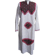 Red & Green Caftan..Red & Green Raised Embroidery On Natural Color Fabric With Woven Geometric