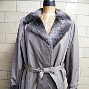 SALE London Fog Car Coat..Beige Cotton & Faux Fur Lined..NWT..Taiwan..1960's..Size 26