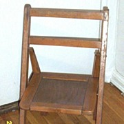 Child's Wood Folding Chair With Slated Seat Set Of Two