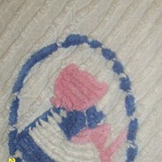 Vintage..Child's Chenille Coverlet..Old Fashioned Girl In Bonnet