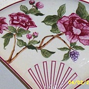 Plum Rose Decorative Fan Porcelain Dish By Taste Setter Japan