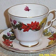 Flowers Of The Year Cup And Saucer (November) Signature Collection By Royal Doulton