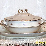 Warwick Heavy Porcelain Set:Covered And Open Vegetable And Platter
