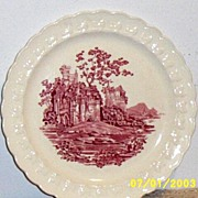 Pink Castle Transferware Dessert / Salad  Plate [2] By Taylor Smith Taylor