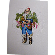 Blue Robed Santa With Basket..Trees..Toys..Christmas Card Collage..Vintage Scraps..Germany
