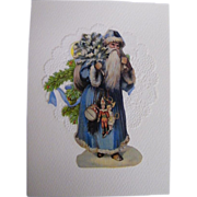 Santa In Long Blue Robe & Hood Carrying Tree & Toys..Christmas Card Collage..Die Cut Scraps ..