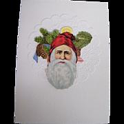 Christmas Card Collage..Santa Face..Die Cut..Germany