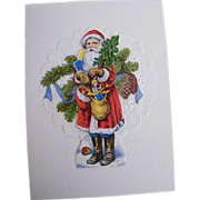 Santa In Long Red Robe & Blue Pants With Trees & Sack Of Toys..Die Cut Scraps ...