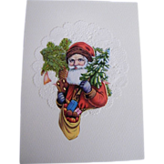 Christmas Card Collage..Santa Bust..Tree & Bag Of Apples..Vintage Paper Scraps..Die Cut. ...