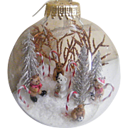 Signed Folk Art Clear Glass Christmas Ornament / Ball..Winter Scene..Signed..#1