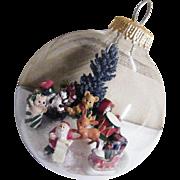 Folk Art Clear Glass Christmas Ornament Winter Scene #2..Signed..
