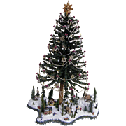 Folk Art Table Top Christmas Tree With Winter Scene At Base..Signed