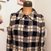 SALE 1960's..Black / White / Gray Basketweave Plaid Wool Coat..Woodward & Lothrop Label. ...