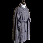 SALE Mini Full Cape Wool Glen Plaid Coat...Travelcoats By Naman..1960's..