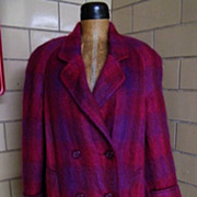 ..Raspberry & Violet Mohair Plaid Coat By Paul Levy..Large Size..Excellent Condition!