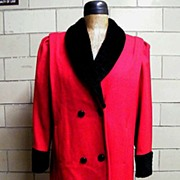 SALE SALE..Dark Red Wool Chemise Style Coat With Faux Black Persian Lamb Collar..Russell ...
