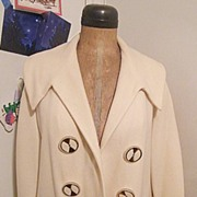 SALE Vintage ..50's-60's White Waffle Weave Wool OPEN FRONT Coat Topper..Excellent ...