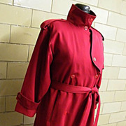 DRIZZLE Wool All Weather  Trench Coat..Red Wool Gabardine / Wool Button Out Lining..1980's..US