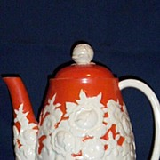 SOLD Japan 1930's White Relief Floral Coffee Pot With Bright Orange Hand-Painted Ground