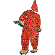 Child's Clown Costume..Halloween..Orange With Green & Gold Dots..Cotton Percale..Organdy Trim.