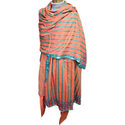 East Indian 3 Piece Costume..Cotton Orange/Aqua Stripe..Tunic/Harem Pants/Beaded Shawl. ...