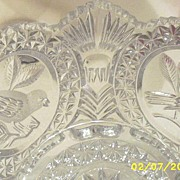 SOLD Vintage...Hoffbauer West Germany..4-Footed Clear Crystal Bowl With..4 Bird Medallions..By