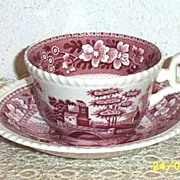 SOLD Vintage..Copeland..Red..Pink Transfer-Ware..C/S Set..Spode's Tower..England..Oval Back-St
