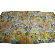Sheer Printed Flower Power 1960's Pinch Pleat Curtains 2 Pairs