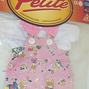 DOLL Clothes..Pink Bunny Printed Overalls & White Blouse With Pink Collar...New Condition..Fit