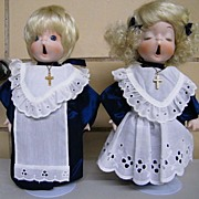 "Adorable CHOIR Boy & Girl Dolls By Cal-Hasco Of California..9.5"" Tall..Metal Stand ..."