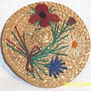 Vintage Round Natural Straw Embroidered Doll's Hat With Attached Wig & Geometric Metal Earring